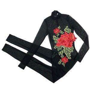 Monaco Sheer Black Bodysuit Jumpsuit Romper Rose